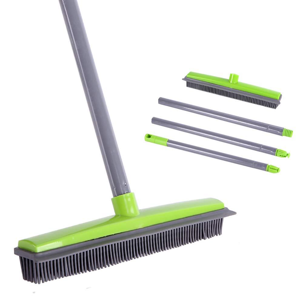 Soft Push Broom Bristle 59'' Rubber Broom Carpet Sweeper