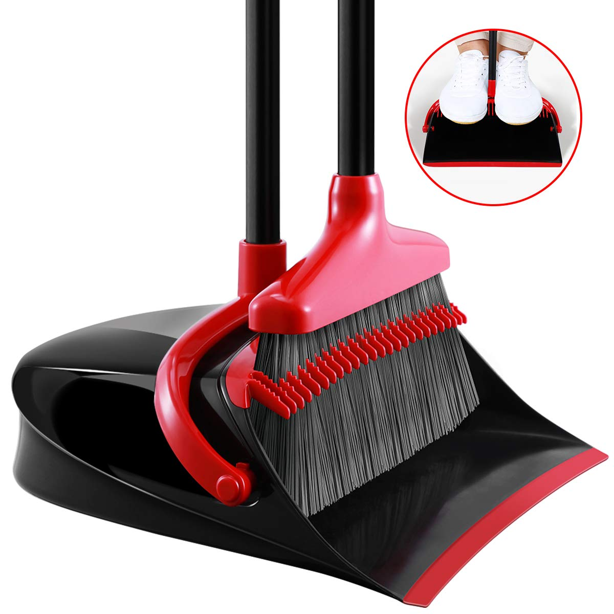 Homemaxs Broom and Dustpan Set, [Newest 2020] Long Handle