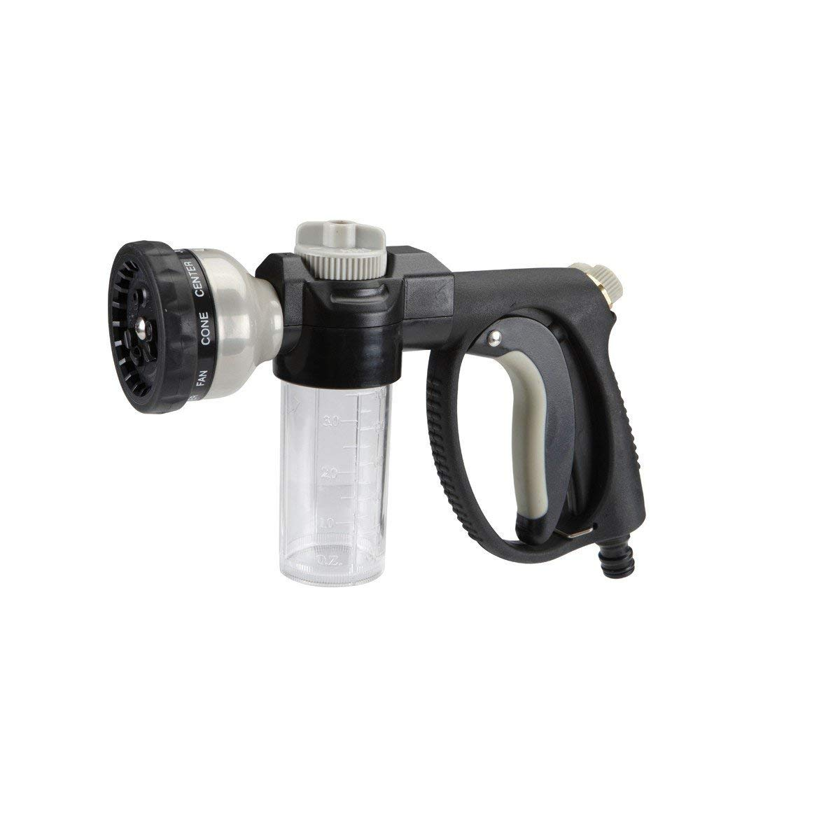 Car Wash Nozzle with Soap Dispenser and Nine Spray Settings - Jet, Mist, Flood, Flat, Angle, Shower, Fan, Cone, Center