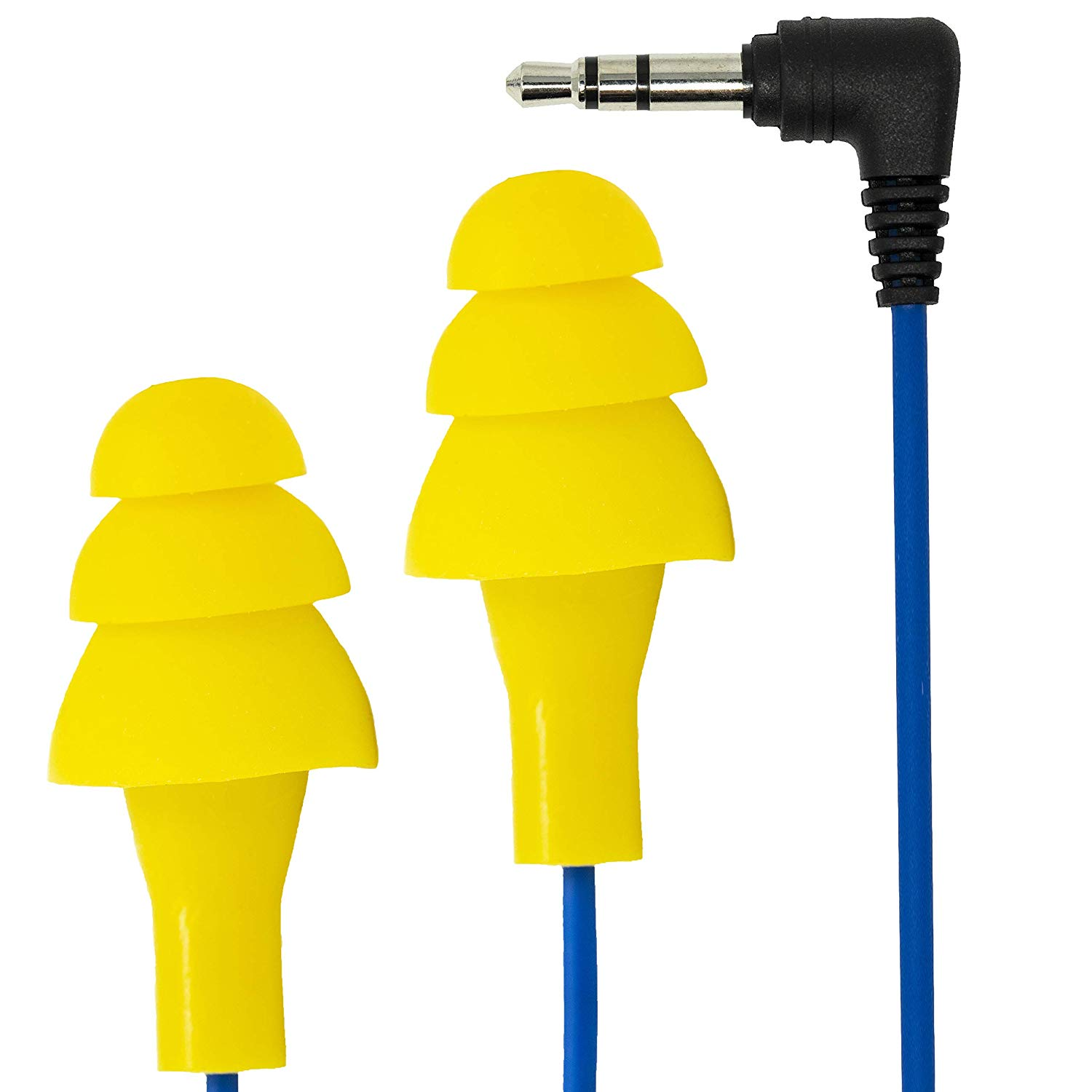 Plugfones Basic Earplug-Earbud Hybrid - Noise Reducing Earphones - Yellow: