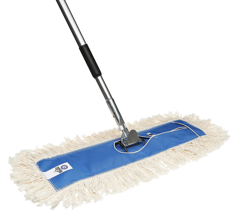 Nine Forty USA 24 Inch Commercial Cotton Dry Dust Mop Head Hardwood Floor Duster Broom Set   Handle: