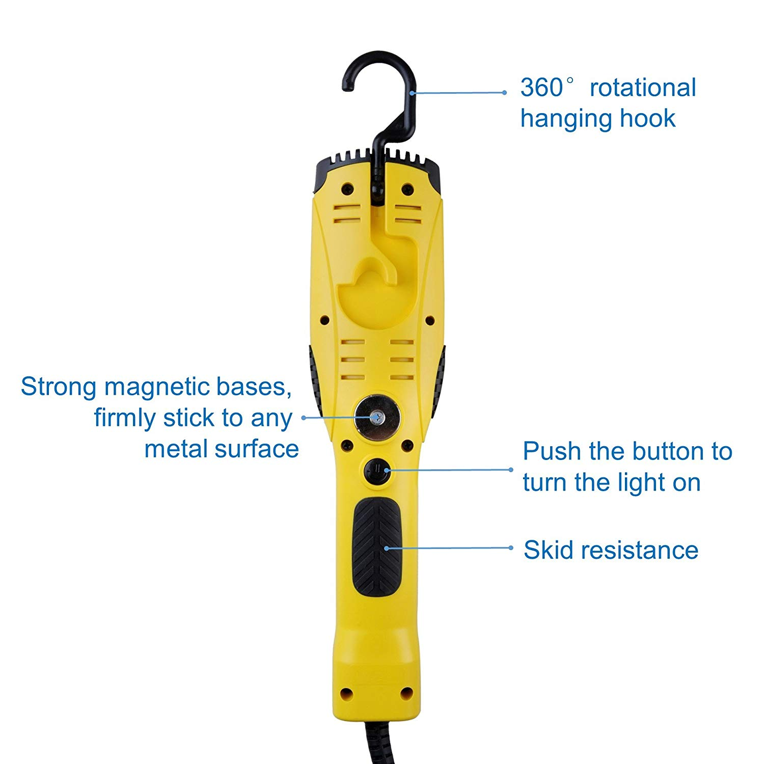 Aceland Portable Corded LED Work Light with Outlet in Handle
