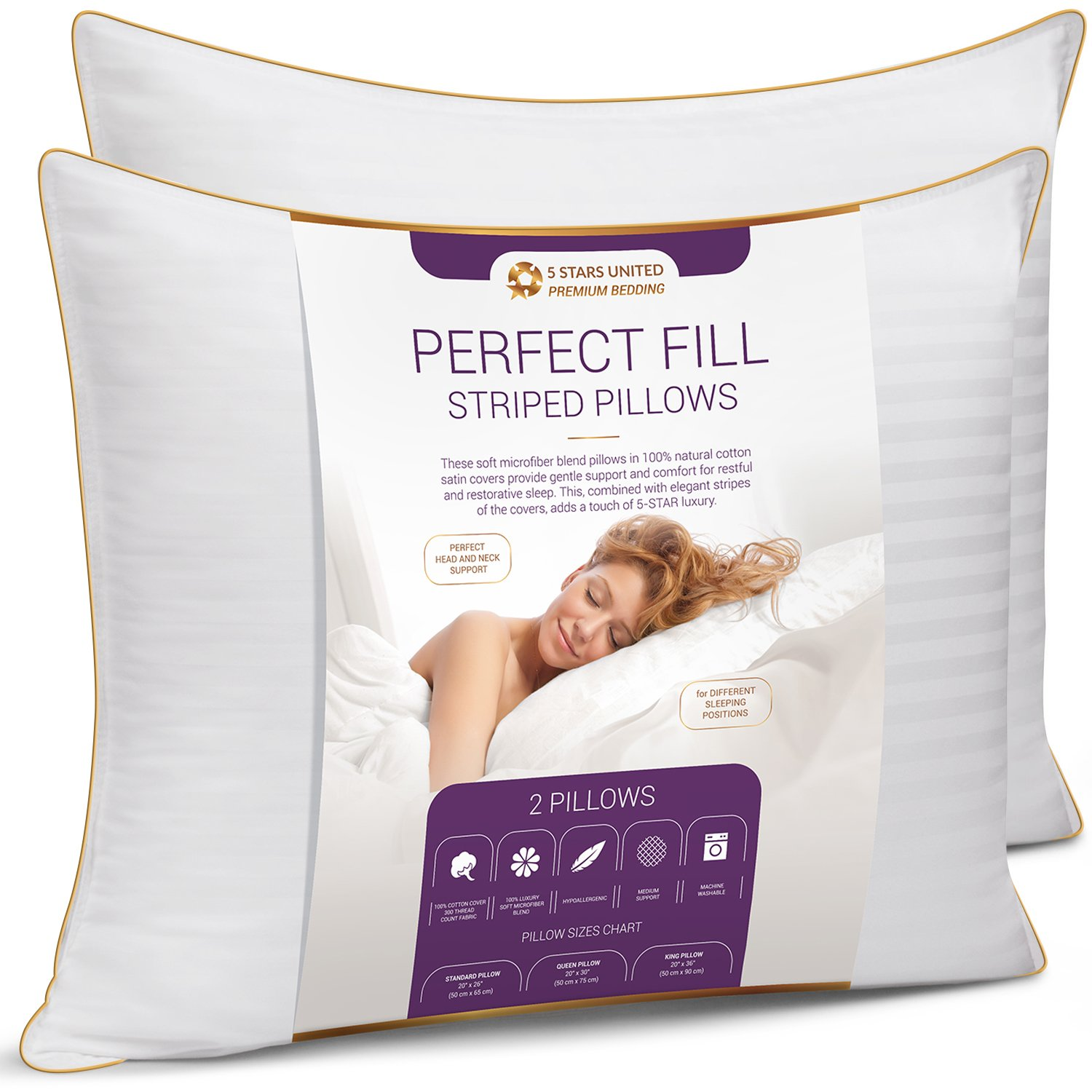 Standard Size Bed Pillows for Sleeping